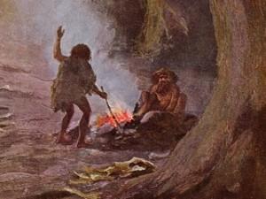 Caveman starting fire